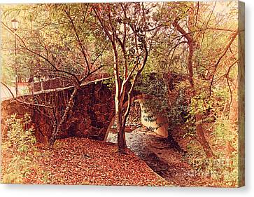 Pedestrian Bridge And Strawberry Creek  . 7d10152 Canvas Print by Wingsdomain Art and Photography