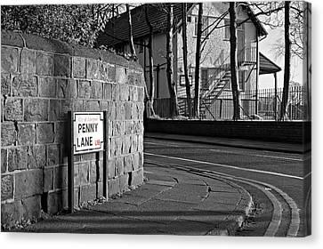 Penny Lane Liverpool Uk Canvas Print by Ken Biggs