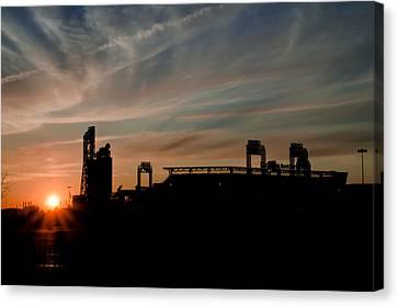 Phillies Stadium At Dawn Canvas Print by Bill Cannon