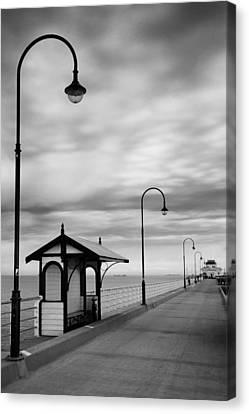 Pier Into The Past Canvas Print by Shari Mattox