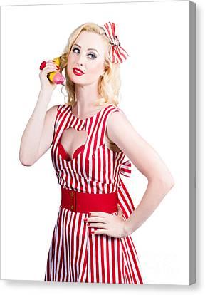 Pin Up Woman Ordering Organic Food On Banana Phone Canvas Print by Jorgo Photography - Wall Art Gallery