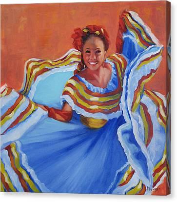 Pirueta Azul  Canvas Print by Roseann Munger
