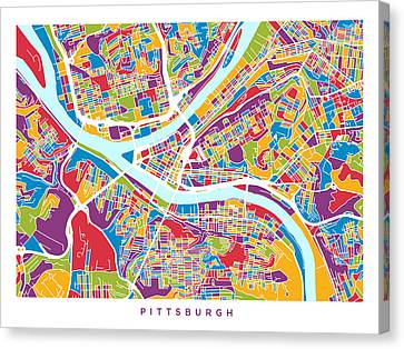Pittsburgh Pennsylvania Street Map Canvas Print by Michael Tompsett