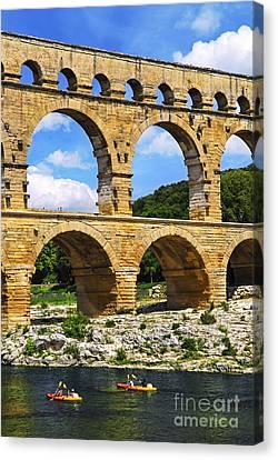 Pont Du Gard In Southern France Canvas Print by Elena Elisseeva