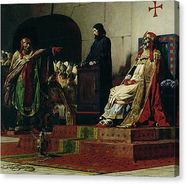 Pope Formosus And Pope Stephen Vi Canvas Print by Jean Paul Laurens
