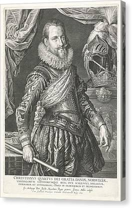 Portrait Of King Christian Iv Of Denmark And Norway Canvas Print by Jan Harmensz. Muller