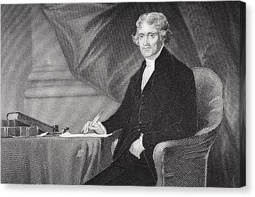 Portrait Of Thomas Jefferson Canvas Print by Alonzo Chappel