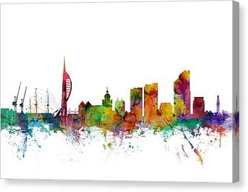 Portsmouth England Skyline Canvas Print by Michael Tompsett