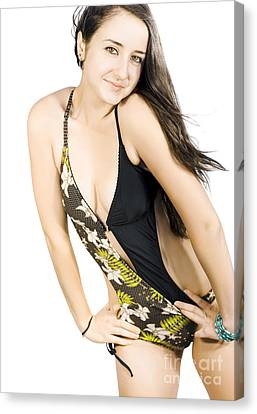 Pretty Brunette In Swimsuit Canvas Print by Jorgo Photography - Wall Art Gallery