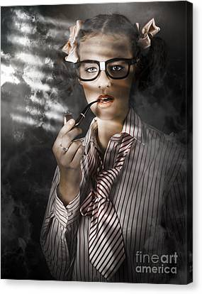 Private Eye Detective Smoking At Crime Scene Canvas Print by Jorgo Photography - Wall Art Gallery