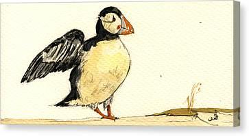 Puffin Bird Canvas Print by Juan  Bosco