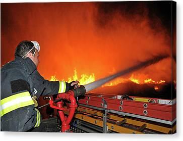 Raging Fire Near The Haifa Oil Refinery Canvas Print by Photostock-israel