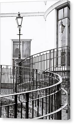 Railings And Lamp Canvas Print by Tom Gowanlock