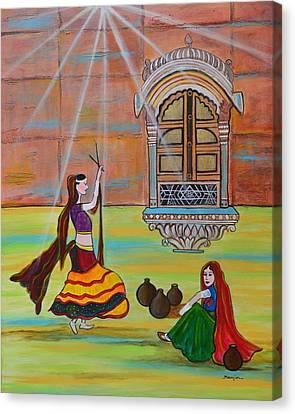 Rajasthani Ladies-dandiya  Canvas Print by Manjiri Kanvinde