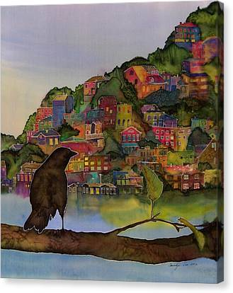 Raven And The Village  Canvas Print by Carolyn Doe