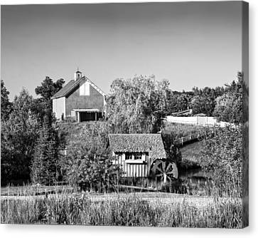Red Barn And Water Mill On Farm In Maine Canvas Print by Keith Webber Jr