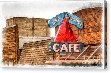 Red Lodge Cafe Old Neon Sign Canvas Print by Edward Fielding