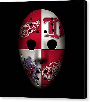Red Wings Goalie Mask Canvas Print by Joe Hamilton