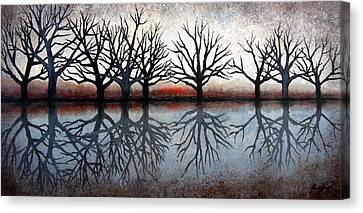 Reflecting Trees Canvas Print by Janet King