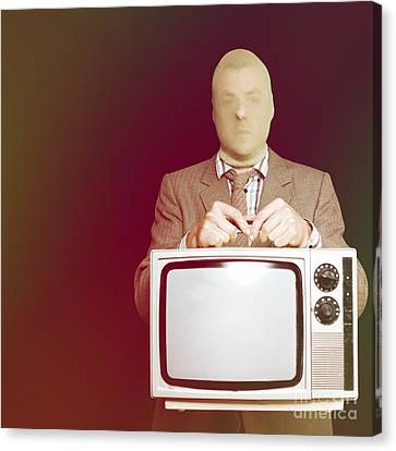 Retro Burglar Stealing Television On Black Canvas Print by Jorgo Photography - Wall Art Gallery