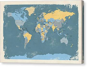 Retro Political Map Of The World Canvas Print by Michael Tompsett