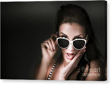 Retro Woman In Early Twenties Expressing Shock Canvas Print by Jorgo Photography - Wall Art Gallery