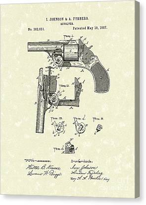 Revolver 1887 Patent Art Canvas Print by Prior Art Design