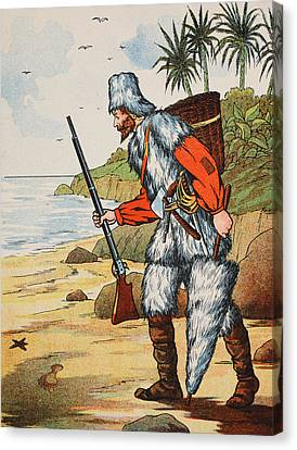 Robinson Crusoe Canvas Print by English School