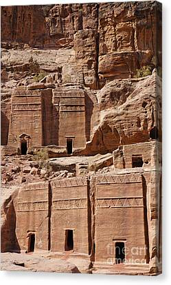 Rock Cut Tombs On The Street Of Facades Petra Jordan Canvas Print by Robert Preston
