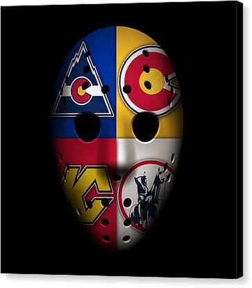 Rockies Goalie Mask Canvas Print by Joe Hamilton
