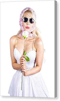 Romantic Woman Making White Rose Wish Canvas Print by Jorgo Photography - Wall Art Gallery