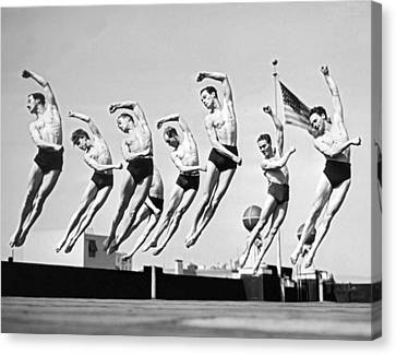 Rooftop Dancers In New York Canvas Print by Underwood Archives