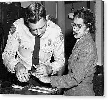Rosa Parks Gets Fingerprinted Canvas Print by Underwood Archives