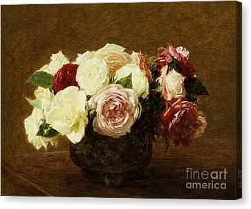 Roses Canvas Print by Ignace Henri Jean Fantin-Latour