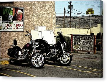Route 66 - Grants New Mexico Motorcycles Canvas Print by Frank Romeo