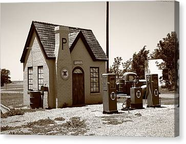 Route 66 - Phillips 66 Gas Station Canvas Print by Frank Romeo