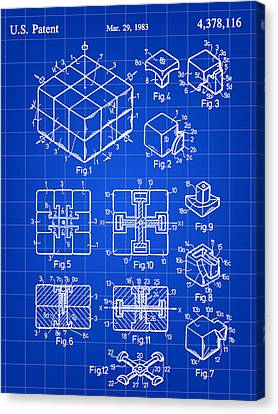 Rubik's Cube Patent 1983 - Blue Canvas Print by Stephen Younts