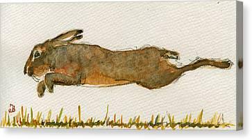 Running Hare Canvas Print by Juan  Bosco