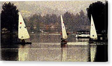 Sailing In The Rain Canvas Print by Ron Regalado