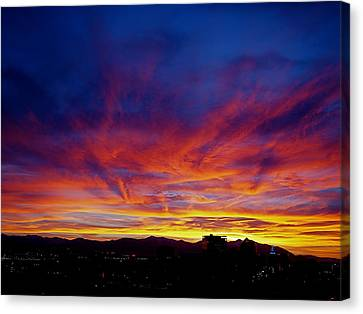 Salt Lake City Sunset Canvas Print by Rona Black