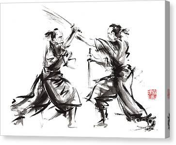 Samurai Sword Bushido Katana Martial Arts Budo Sumi-e Original Ink Sword Painting Artwork Canvas Print by Mariusz Szmerdt
