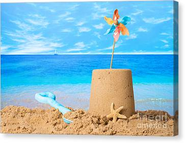 Sandcastle On Beach Canvas Print by Amanda Elwell