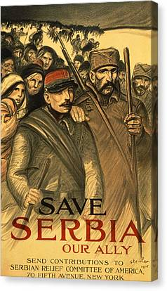 Save Serbia Our Ally Canvas Print by Theophile Alexandre Steinlen