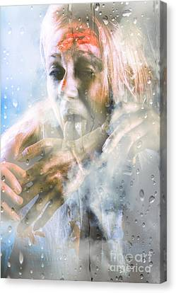 Scary Horror Zombie Licking Human Hand At Window Canvas Print by Jorgo Photography - Wall Art Gallery