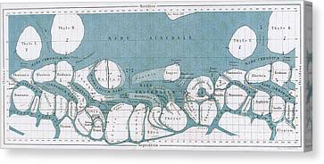 Schiaparelli Mars Map, 1877-78 Canvas Print by Science Source