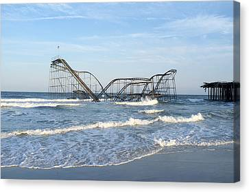 Seaside Heights - Jet Star Roller Coaster In Ocean Canvas Print by Niday Picture Library