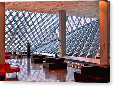 Seattle Library Reading Room 2 Canvas Print by Allen Beatty