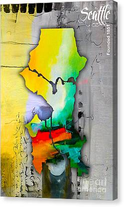 Seattle Map Watercolor Canvas Print by Marvin Blaine