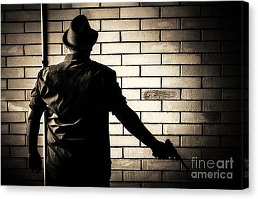 Secret Agent Silhouette About To Surrender Handgun Canvas Print by Jorgo Photography - Wall Art Gallery