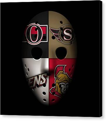Senators Goalie Mask Canvas Print by Joe Hamilton